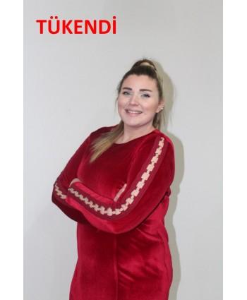 ELBİSE KADİFE KIRMIZI