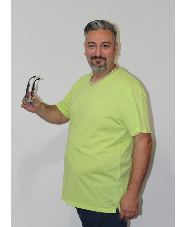 ERKEK T-SHIRT V YAKA FISTIK YEŞİLİ (model 5) - N