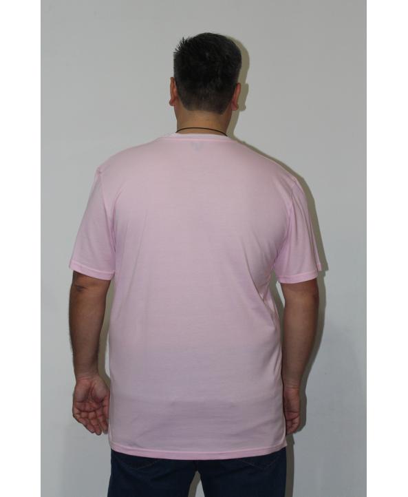 ERKEK T-SHIRT BİSİKLET YAKA TOZ PEMBE (model 1)- N