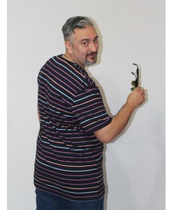 ERKEK T-SHIRT BİSİKLET YAKA LACİVERT ÇİZGİLİ (model 2) - N