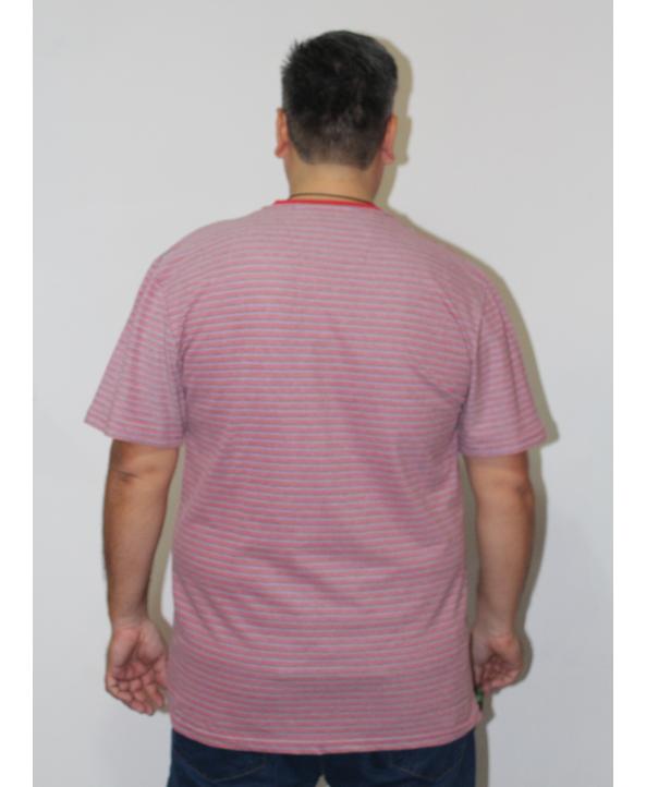 ERKEK T-SHIRT BİSİKLET YAKA GRİ ÇİZGİLİ (model 2) - N